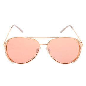 Embellished Aviator Sunglasses - Rose Gold,
