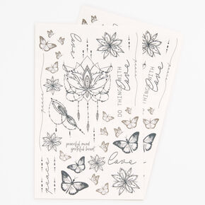 Butterfly Lotus Flower Temporary Tattoos - Black,