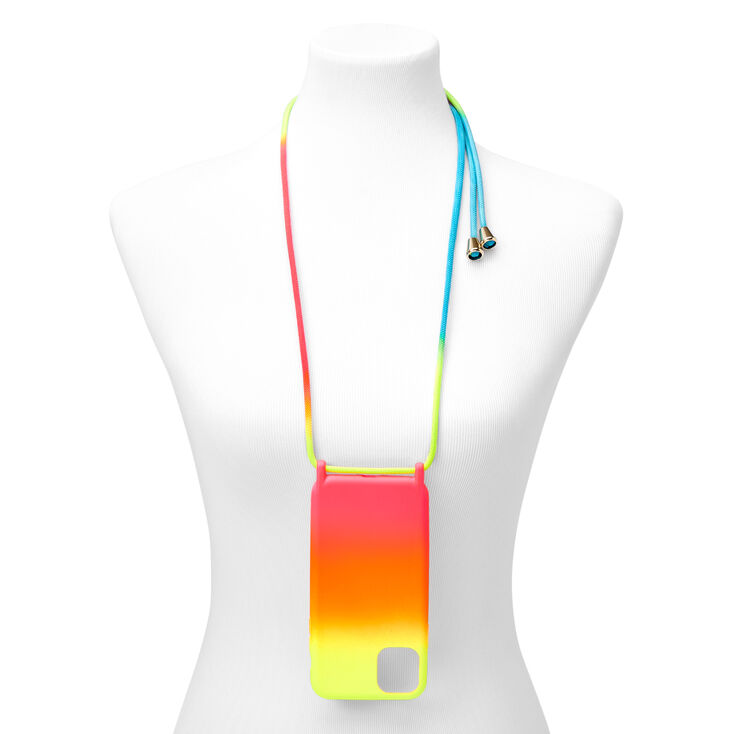 Neon Ombre Phone Case with Strap - Fits iPhone 11,