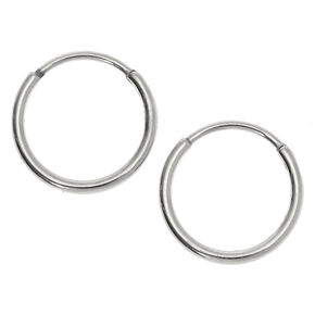 Silver Titanium 12MM Sleek Hoop Earrings,