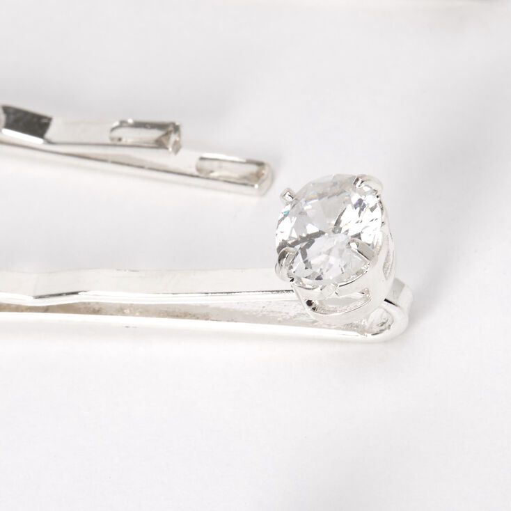 Silver Cubic Zirconia Oval-Cut Hair Pins - 6 Pack,