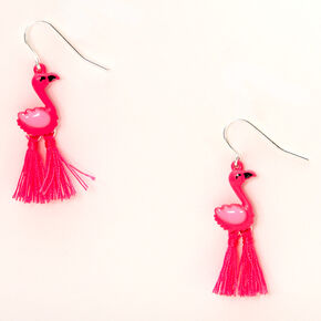 "Silver 1.5"" Flamingo Drop Earrings - Pink,"