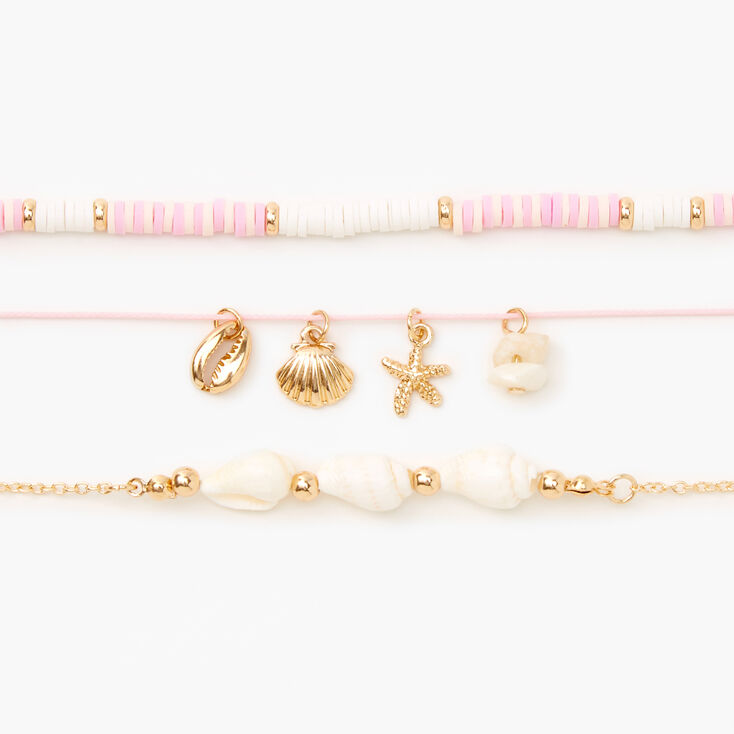 Gold Disc Seashell Choker Necklaces - Pink, 3 Pack,
