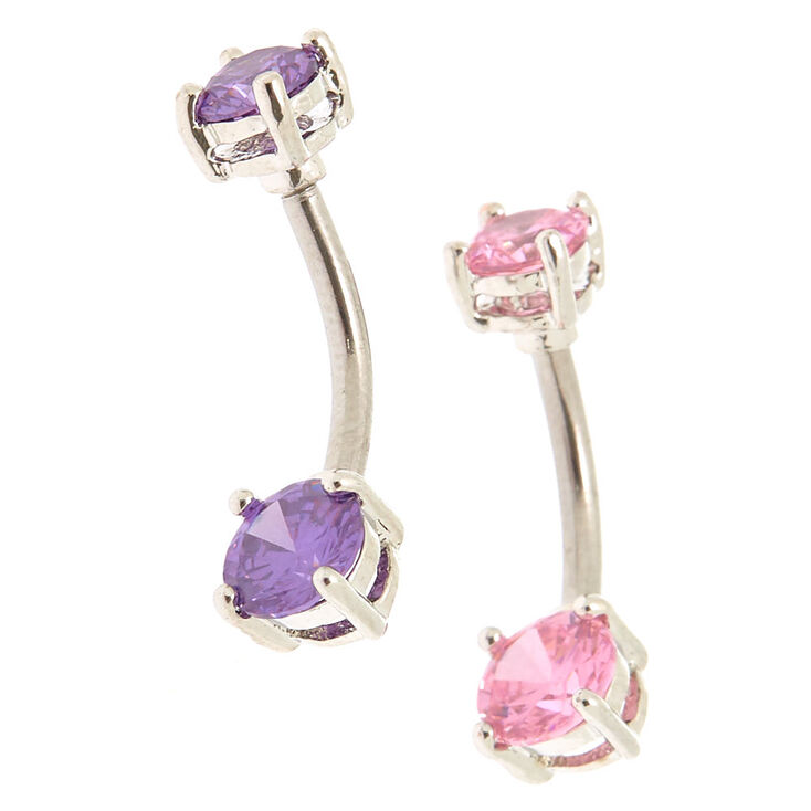 Silver Cubic Zirconia 14g Pretty Pastel Belly Rings 2 Pack