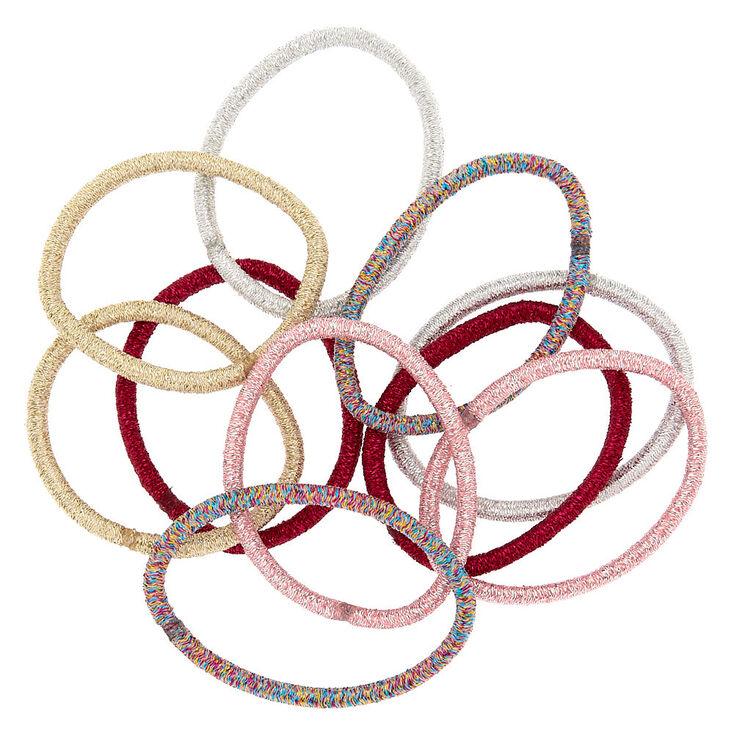 Glam Glitter Hair Ties - Pink, 10 Pack,