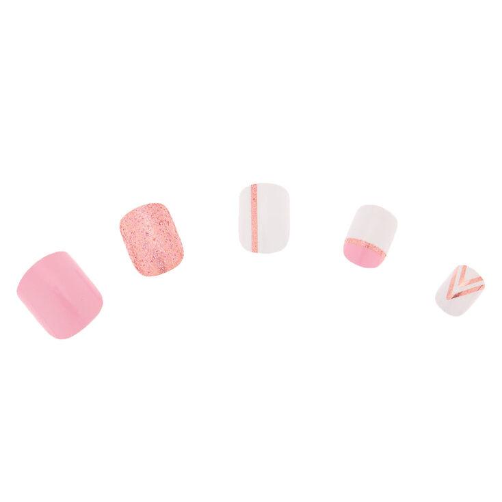 Geometric Glitter Square Press On Faux Nail Set - Rose Gold, 24 Pack,