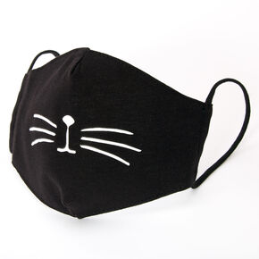 Cotton Black Cat Whisker Face Mask - Child Medium/Large,