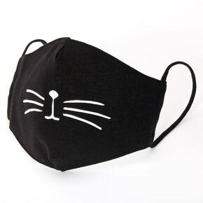 Masque en coton moustache de chat noir - Enfant taille moyenne/grande taille,