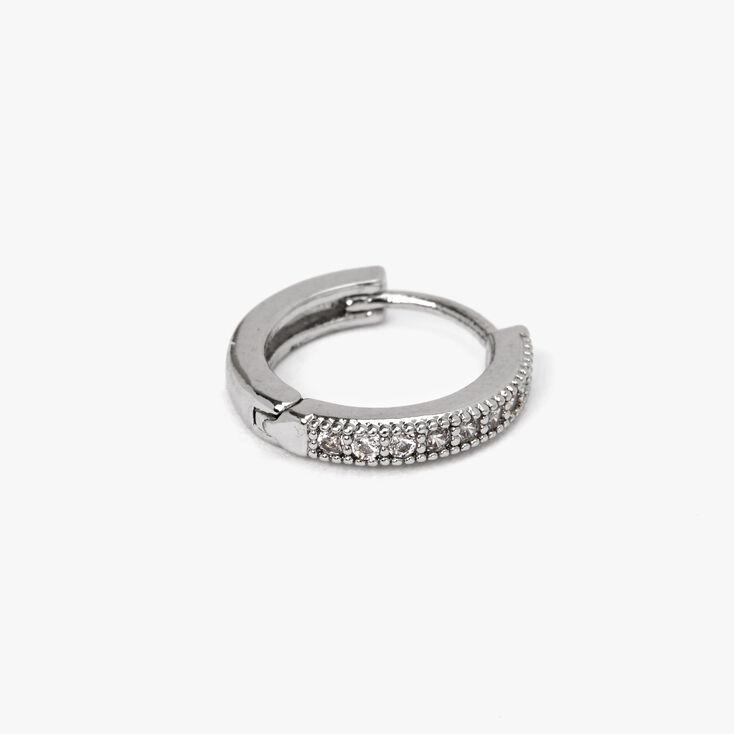 Silver 12MM Half Embellished Cartilage Hoop Earring,