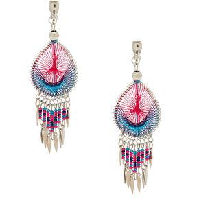 "Silver 3"" Threaded Clip On Drop Earrings - Pink,"
