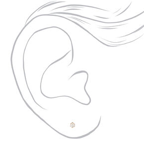 18kt Gold Plated Cubic Zirconia Round Stud Earrings - 2MM,