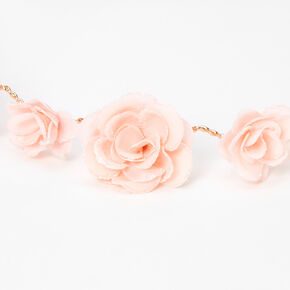 Couronne de fleurs avec roses pailletées - Rose tendre,