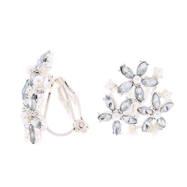 Claire's - cluster flower clip on stud earrings - 1