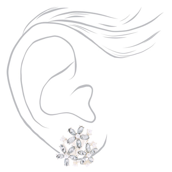 Claire's - cluster flower clip on stud earrings - 2