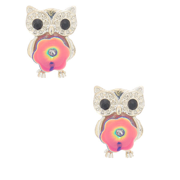 Claire's - sequin owl stud earrings - 1