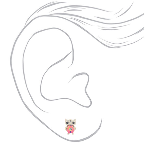 Claire's - sequin owl stud earrings - 2