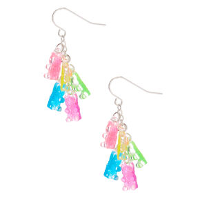 "1"" Rainbow Gummy Bear Drop Earrings,"