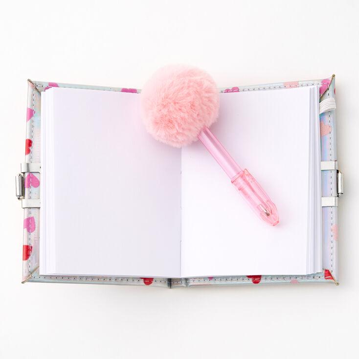 Shakey Hearts Lock Notebook & Pom Pom Pen,