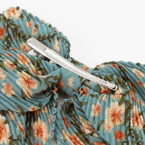 Pleated Teal Floral Bow Clip,