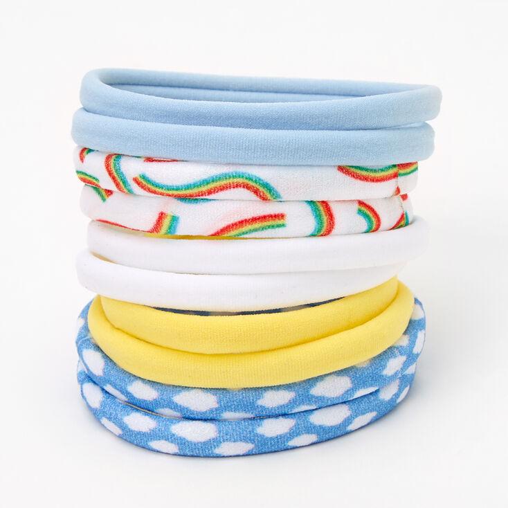Rainbows & Clouds Rolled Hair Ties - 10 Pack,