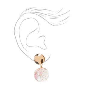 """Gold 1"""" Resin Floral Double Drop Earrings - Pink,"""