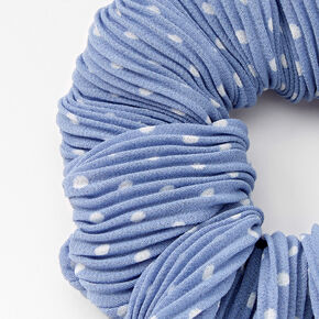 Chouchou à pois plissé de taille moyenne - Bleu,