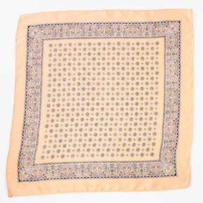 Bandeau bandana soyeux imprimé floral et cachemire - Nude,