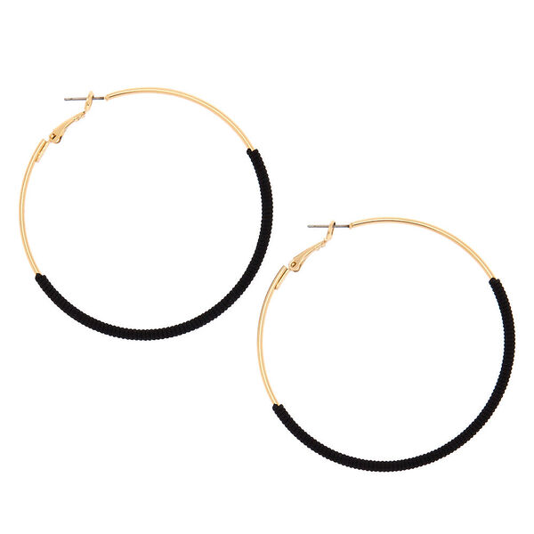 Claire's - gold 60mm thread wrapped hoop earrings - 1