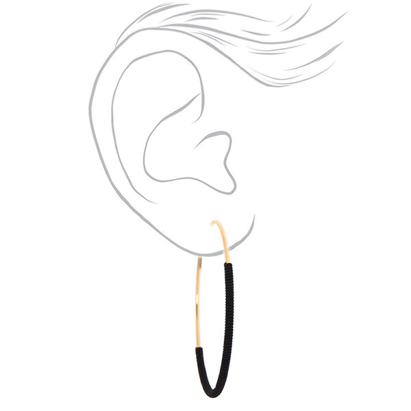 Claire's - gold 60mm thread wrapped hoop earrings - 2