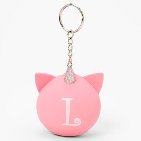 Initial Unicorn Stress Ball Keychain - Pink, L,