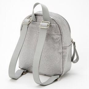 Claire's Club Metallic Heart Mini Backpack - Silver,