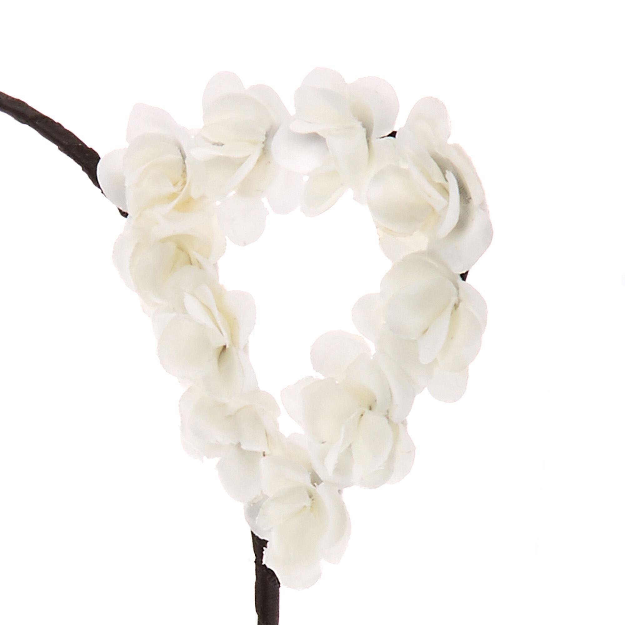 White Flower Cat Ears Black Headband Claires Us