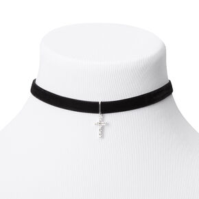 Silver Cross Velvet Choker Necklace - Black,