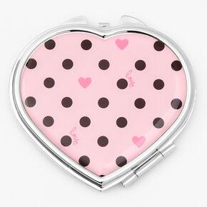 Polka Dot Hearts Compact Mirror - Pink,