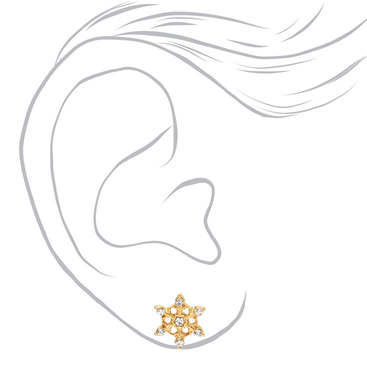 18kt Gold Plated Frosted Snowflake Stud Earrings,