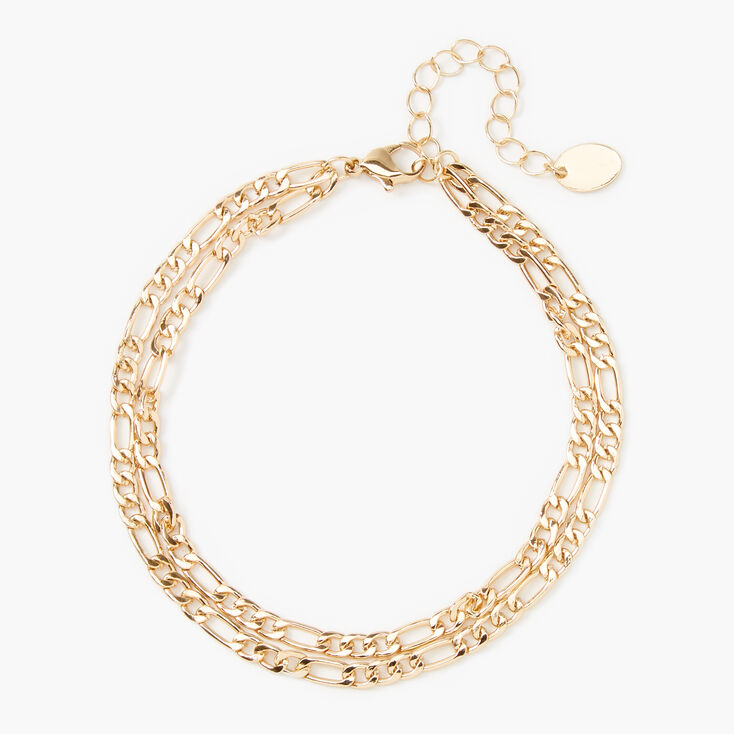 Gold Double Chain Link Anklet,