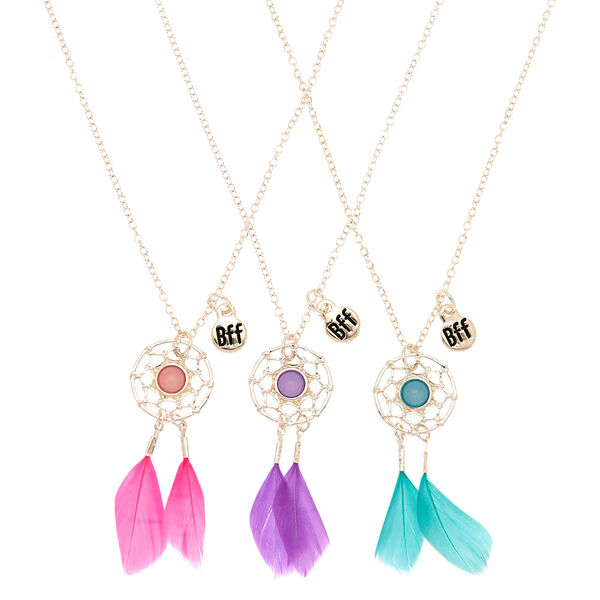 Claire's - best friends dreamcatcher feather pendant necklaces - 1