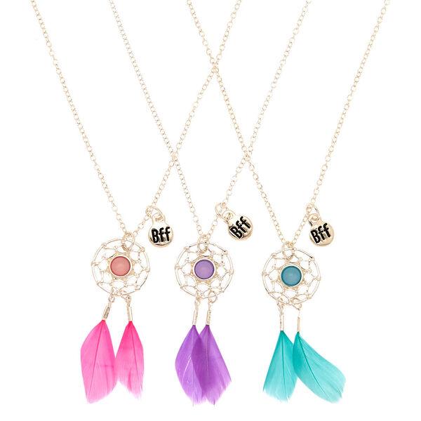 Claire's - best friends dreamcatcher feather pendant necklaces - 1