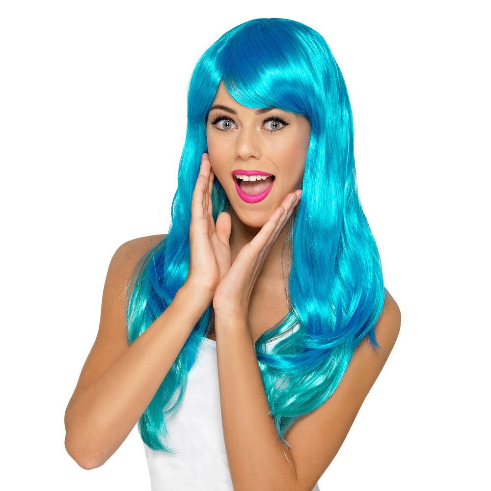 Perruque couleur turquoise effet dégradé
