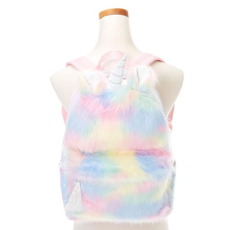 Fluffy Pastel Rainbow Unicorn Medium Backpack,