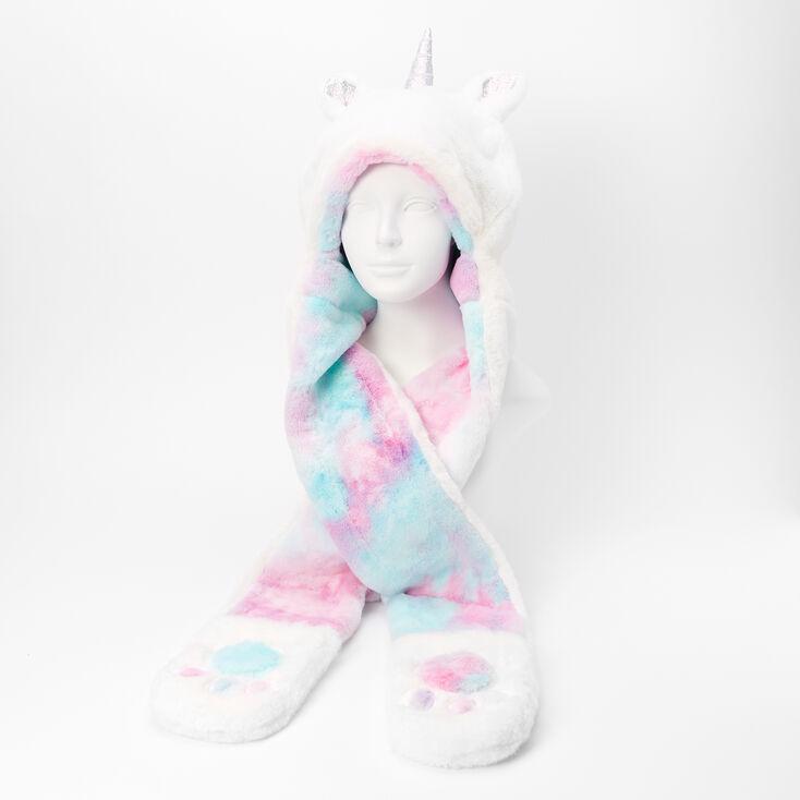 Faux Fur Pastel Rainbow Hooded Unicorn Scarf - White,