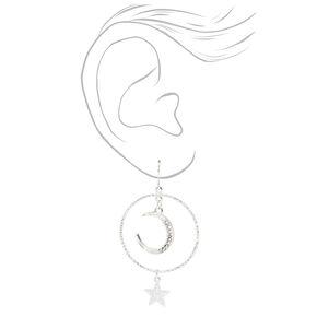 "Silver 2.5"" Crescent Moon Star Hoop Earrings,"