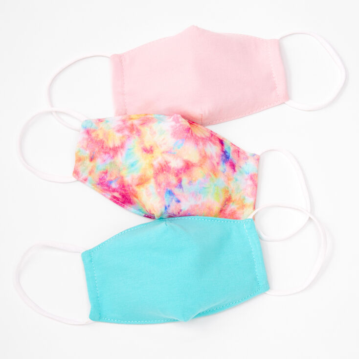 3 Pack Cotton Pink and Blue Tie Dye Face Masks - Child Small,