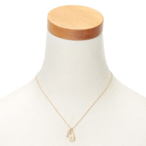Gold Lock & Key Initial Pendant Necklace - Y,