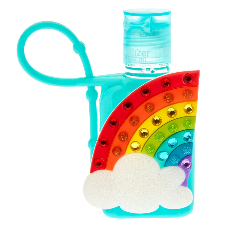 Bedazzled Rainbow Holder with Anti-Bacterial Hand Sanitizer,