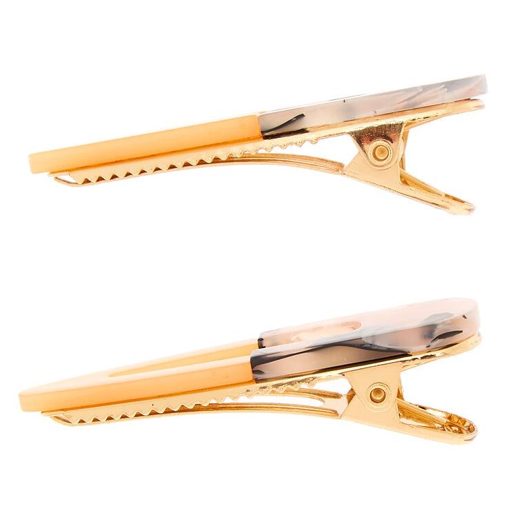 Gold Tortoiseshell Hair Clips - Peach, 2 Pack,