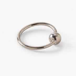 Silver Titanium 20G Beaded Hoop Nose Ring,