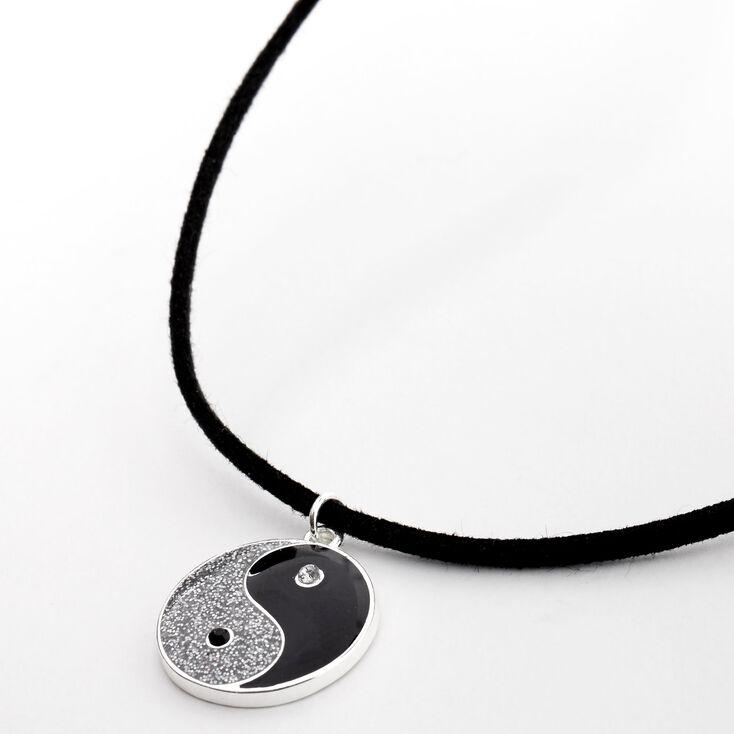 Collier à pendentif cordon Yin et Yang pailleté couleur argentée - Noir,