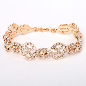 Rose Gold Pink Silk Rhinestone Evil Eye Chain Bracelet,