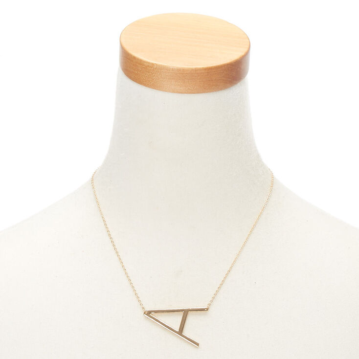 Oversized Initial Pendant Necklace - A,